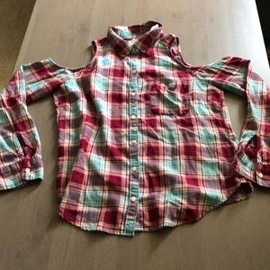 Hollister Cold Shoulder Flannel Shirt
